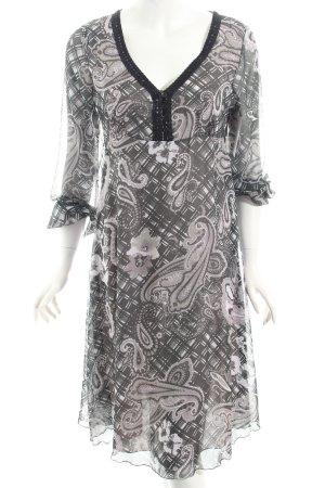 Vivien Caron Langarmkleid dunkelgrau-weiß florales Muster Hippie-Look