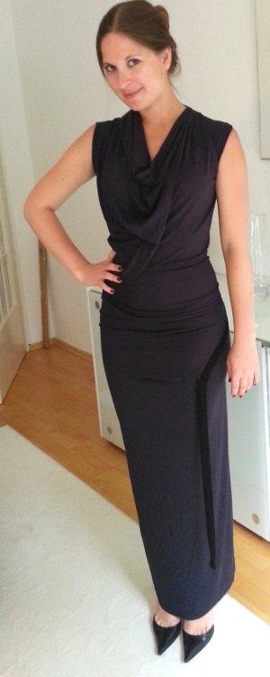 Vivienne Westwood Abendkleid Anglomania Jerseykleid asymetrisch Ballkleid ausgefallen dunkelblau mit Bändern in schwarz anthrazit