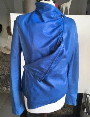 Vivienne Westwood Leather Jacket steel blue-blue leather
