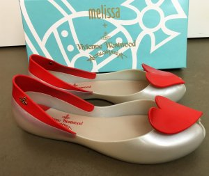 Vivienne Westwood Peep Toe Ballerinas silver-colored-red synthetic material