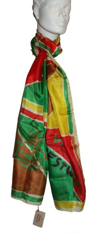 Vivienne Westwood Seidetuch, rot-gelb-grün, 32 x 215 cm, 100% Seide