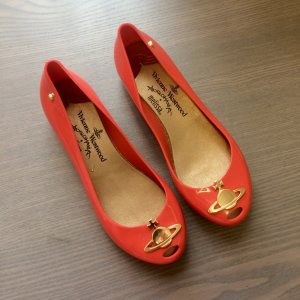 Vivienne Westwood Patent Leather Ballerinas red-gold-colored recycled material