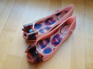 Vivienne Westwood Bailarinas con tacón con punta abierta rosa