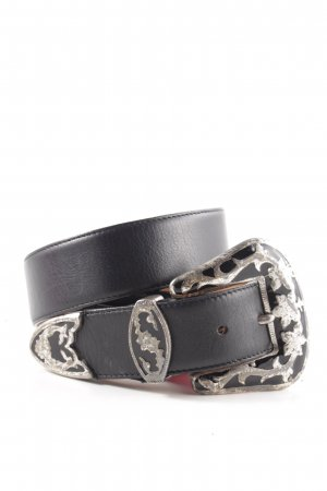 Vogt Leather Belt black-silver-colored business style