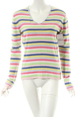 Vogue V-Ausschnitt-Pullover Streifenmuster Casual-Look