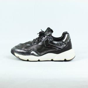VOILA BLANCH Sneaker Gr. 37 silber schwarz Leder (19/10/162)