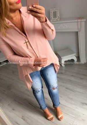 Vokuhila Bluse Hemdbluse Fischerhemd Tunika Top Shirt langarm Sommerbluse Puderfarbe passt S-L