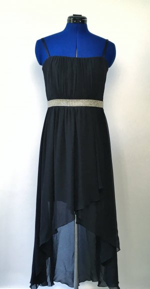 Marie Lund High Low Dress black-silver-colored polyester