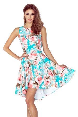 Vokuhila Kleid Blumen Flower Hippie Sommerkleid Tanzkleid Abendkleid Cocktailkleid Partykleid Ibiza passt bei 40 (148-1)