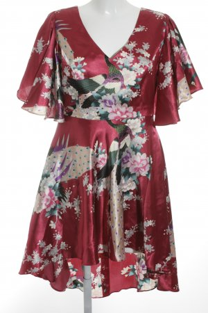 High Low Dress floral pattern wet-look