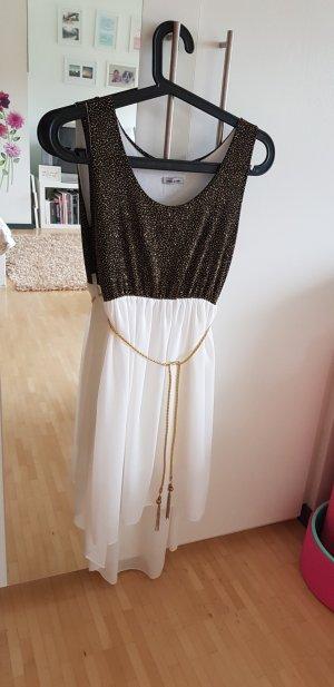 Vokuhila-Kleid mit Weiß und Gold
