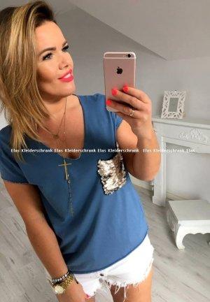 Vokuhila oversize Shirt/ Top BLING BLING Pailletten Strass Glitzer + sexy Ausschnitt passt bei S-L