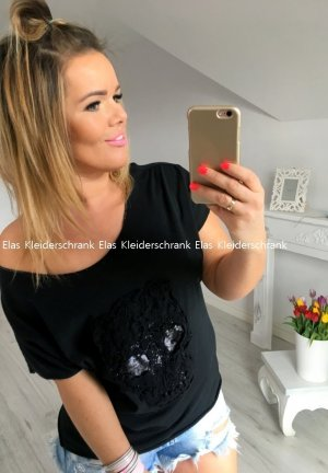 Vokuhila Oversize Top Shirt schulterfrei / Carmen Ausschnitt T-Shirt schwarz Blogger Oberteil passt M-XXL