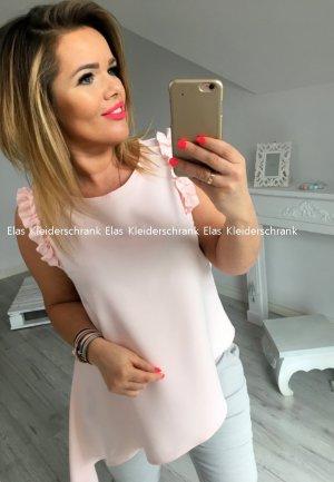Vokuhila oversize Volant Bluse Hemd Top Shirt Einteiler Oberteil Puderfarbe Rose passt bei 38 / 40