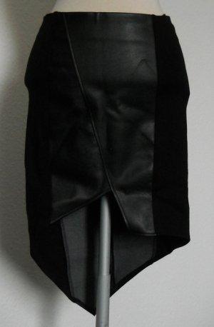 Vokuhila Rock Kunstleder Gr. 34 XS schwarz asymetrisch neu gothic