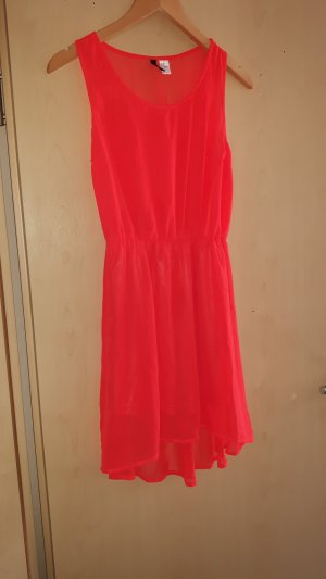 H&M Robe bas asymétrique rouge-orange fluo