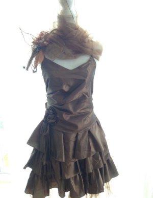 Volant Abendkleid Ballkleid im Lagenlook braun M 38 Kleid Bronze braun Kleid