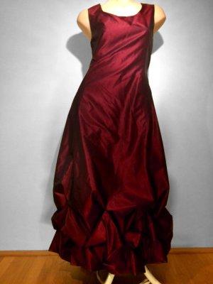 Volant Kleid v. Christie de LaRue, Mit! Mantel goldfarben bordeauxrot Seide!