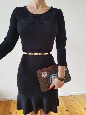 Volant Peplum Strickkleid 34 36 XS S schwarz Mini Kleid Bodycon Etuikleid Longpullover Longpulli Tunika Top Neu NP 29€