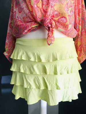 Clockhouse Flounce Skirt lime yellow