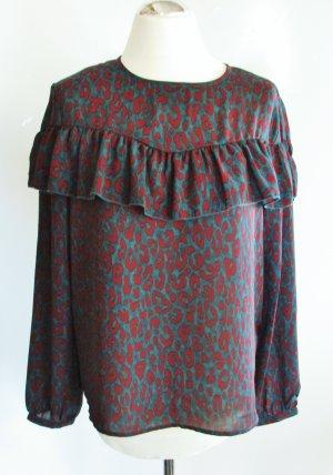 Volant Tunika Bluse ONLY Größe 40 Grün Rot Leopard Leo Muster Hemd Neu