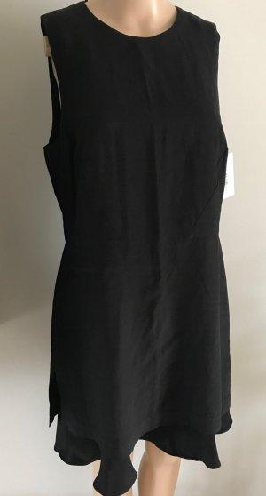 Volant Viskose Leinen Kleid Mango Suit Etuikleid schwarz Elegant L 40