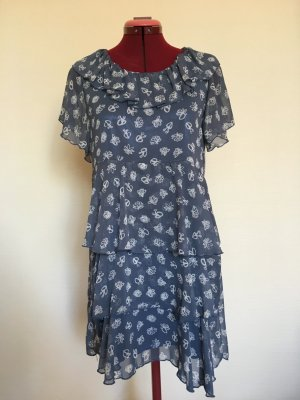 Flounce Dress blue rayon