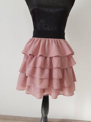 Zara Basic Volanten rok stoffig roze