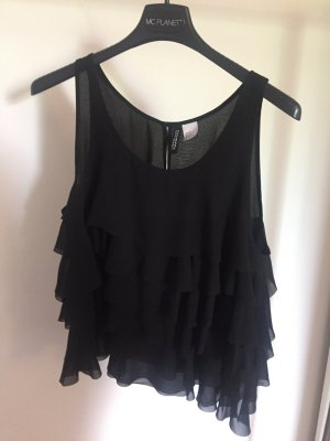 H&M Divided Top con volantes negro