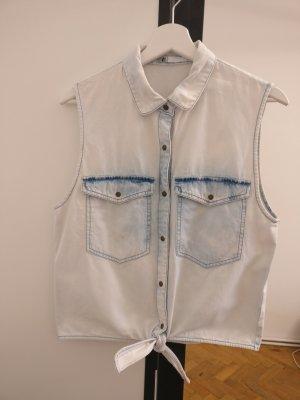 Volcom Acid Wash Denim Jeans Top Bluse zum binden