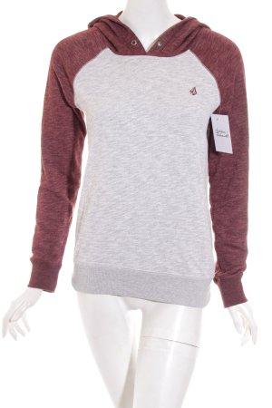 Volcom Kapuzensweatshirt hellgrau-dunkelrot sportlicher Stil