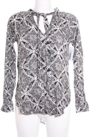 Volcom Langarm-Bluse weiß-schwarz Ethnomuster Casual-Look