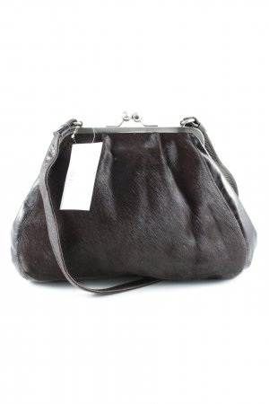 Volker Lang Frame Bag dark brown-silver-colored animal print