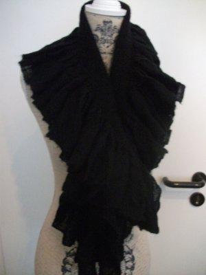 Vollant Schal / Stola - von pieces, 100x17cm, schwarz - NEU