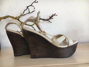 Platform High-Heeled Sandal natural white-dark brown