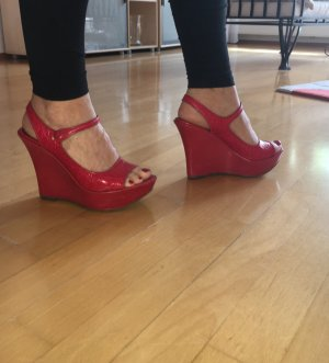 Volleder Plateausandalette in rot!NP 179,00 €