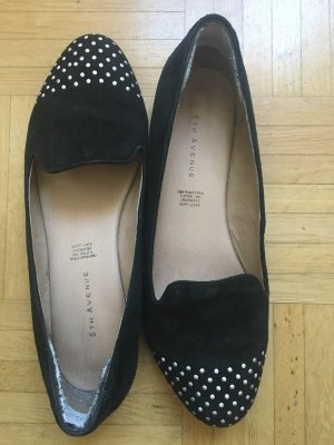 5th Avenue Slip-on Shoes black-silver-colored leather