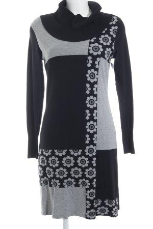 volpato Sweater Dress black-grey flower pattern casual look