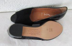 VOLTAN 1898 Peeptoes Ballerinas Schuhe Pumps Leder / Wildleder in Gr. 36