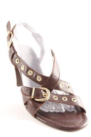 Voltan High Heel Sandaletten dunkelbraun-goldfarben Elegant