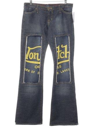 von Dutch Boot Cut Jeans dunkelblau-gelb Schriftzug gedruckt Street-Fashion-Look