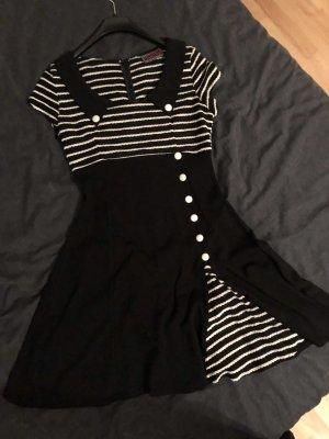 Voodoo Vixen Robe avec jupon blanc-noir