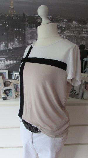 VOTRE MODE*Edles Viskose Shirt*weiß-schwarz-beige 3D-Schleife*42/44