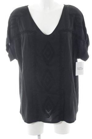 Votre Mode Kurzarm-Bluse schwarz Casual-Look