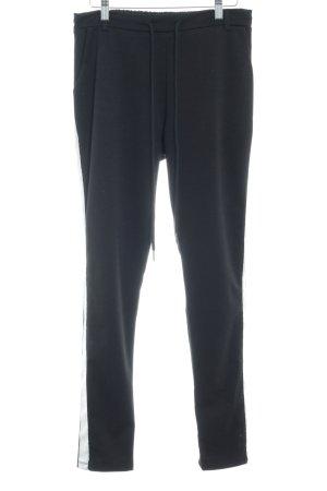 Voyelles Pantalone jersey nero-bianco motivo a righe stile casual