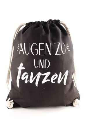 VS Schultertasche schwarz-weiß Schriftzug gedruckt Casual-Look