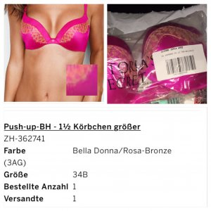 VS - Victoria Secret Push Up BH - 34-B  + 1½-Cups größer (34C?)