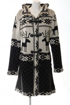 Vsct Knitted Coat cream-black abstract pattern casual look