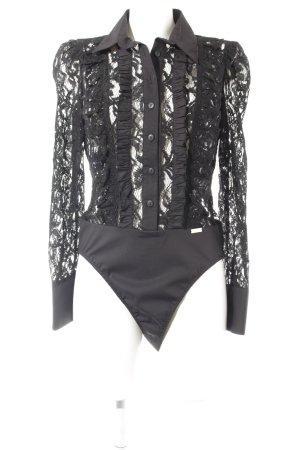 W les Femmes Bodysuit Blouse black lace look