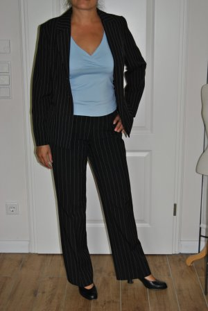 Pinstripe Suit black-white cotton